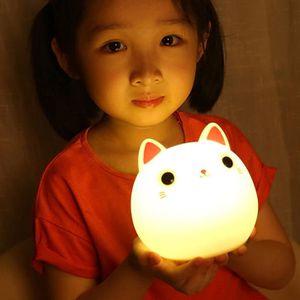 VEILLEUSE BÉBÉ 1pc chat en silicone souple veilleuse pour bébé en