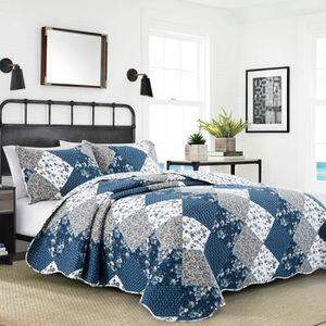 JETÉE DE LIT - BOUTIS couvre-lit boutis matelassé 240 x 260 bleu + 2 ave