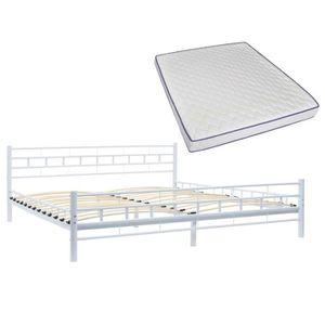 LIT COMPLET Lit métallique et matelas 180x200 cm Blanc Design