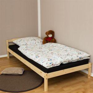 STRUCTURE DE LIT Lit simple avec sommier à lattes futon en bois ...