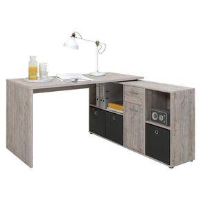 BUREAU  Bureau angulaire réversible en bois coloris chêne