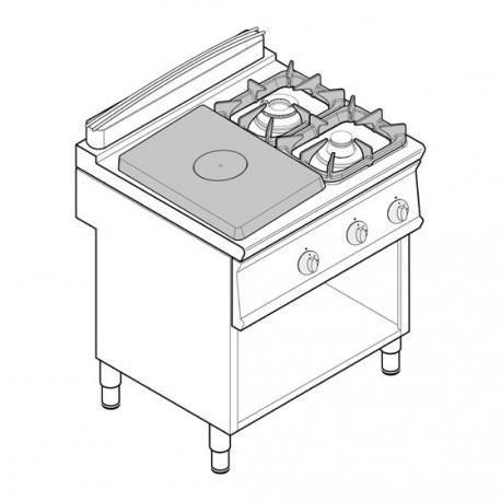 Fourneau plaque coup de feu - top 2 feux vifs gaz et 1/2 plaque coup de feu sur placard ouvert - gamme 700 - Tecnoinox