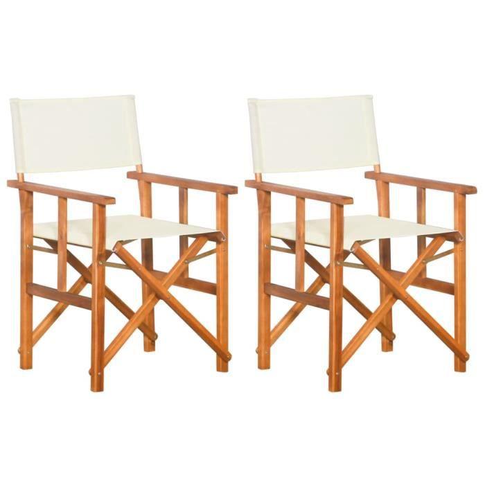MMCZ® Chaise de Salon Scandinave - Lot de 2 Chaises de metteur en scène - Bois massif d'acacia ❤5274