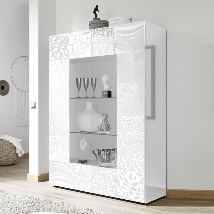 Vaisselier design blanc laqué NERINA L 121 x P 42 x H 166 cm Blanc