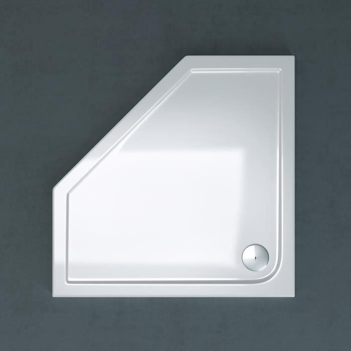Receveur de douche pentagonale 90x90 Sogood Faro05 bac à douche blanc acrylique 90x90x4cm
