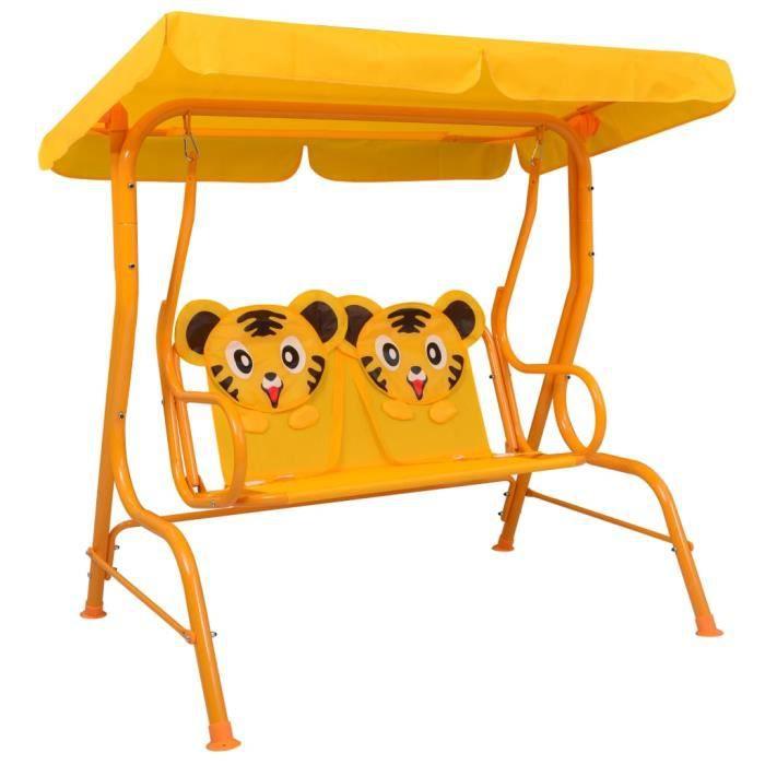 7957BEST® Balancelle pour enfants Balancelle de jardin grand confort-Balancelle d'extérieur Jaune 115x75x110 cm Tissu