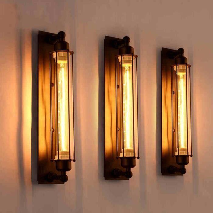 Applique Murale Lampe Murale Vintage Edison Mur LED E27 Lumière Moderne Couloir Vintage Rétro Industriel avec 4W Ampoule LED Ve11235