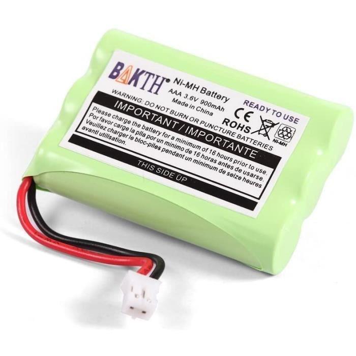 BAKTH Batterie 3.6v 900mAh pour Motorola Moniteurs de Bébé, pour Écoute-bébé Babyphone MBP18 MBP27T MBP33 MBP33PU MBP33BU MBP36 MBP3