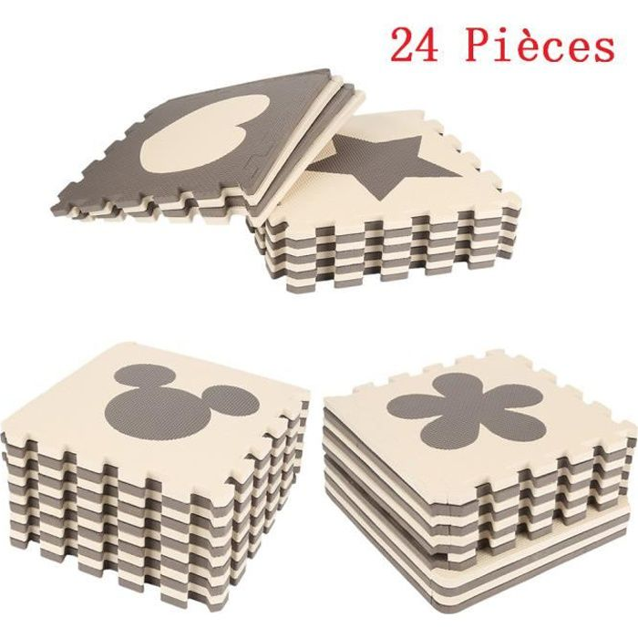 24 Pièces Puzzle Ramper Tapis Bébé Café Mignon en Mousse EVA Jouets Jeux