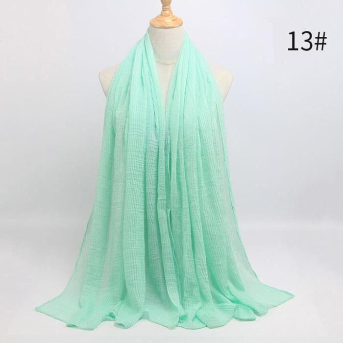 Foulard hijab en coton froissé, écharpe douce, écharpe chaude, écharpe chaude, châle, 25 couleurs, Design hiver, tendanc DY5188
