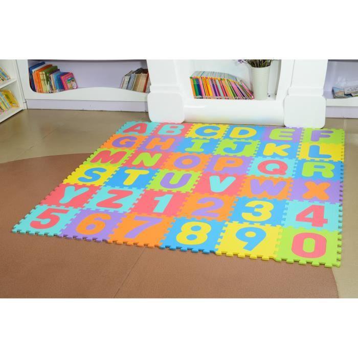 Tapis puzzle bebe en mousse 180cm*180cm*0.9cm Alphabet et chiffres 86 pièces 36 dalle multicolor