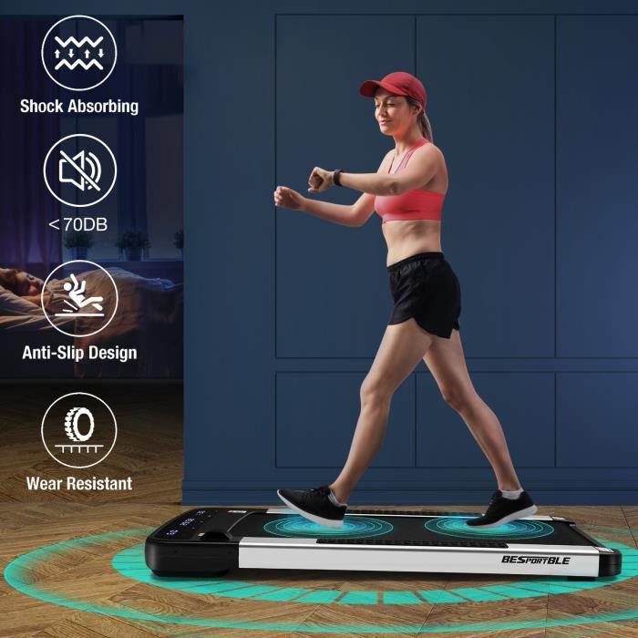Tapis de marche Tapis de course plat de jogging Machine de course à pied lisses pour le bureau à domicile (noir)-lian