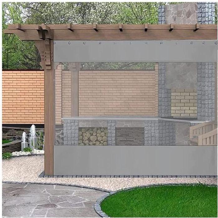 Rideaux Transparents Extérieurs, Panneaux Latéraux De Pergola De PVC De 0.5MM Résistants Aux UV Résistants Aux Intempéries avec L'oe
