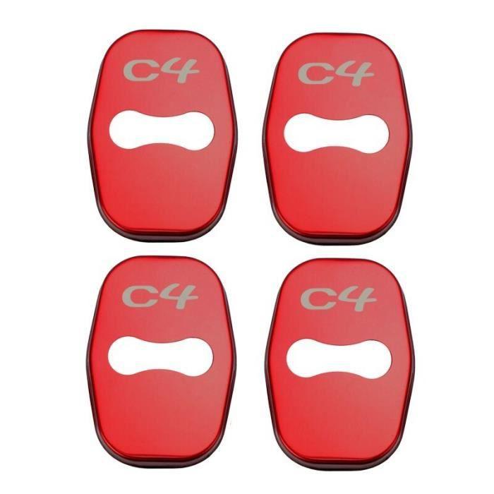 Décoration Véhicule,Housse de serrure de porte de voiture, 4 pièces, en acier inoxydable, accessoire pour citroën - Type for C4 red