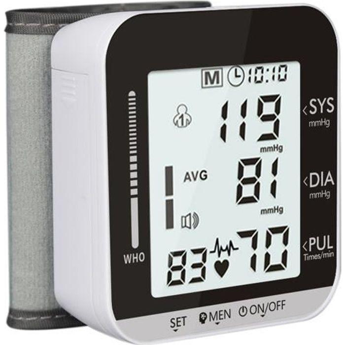 Tensiomètre électronique de poignet, détection de fréquence cardiaque sphygmomanomètre automatique,Diffusion vocale en anglais