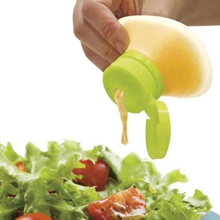Bouteille de vinaigrette en plastique Distributeur de condiments Ketchup Moutarde v4218