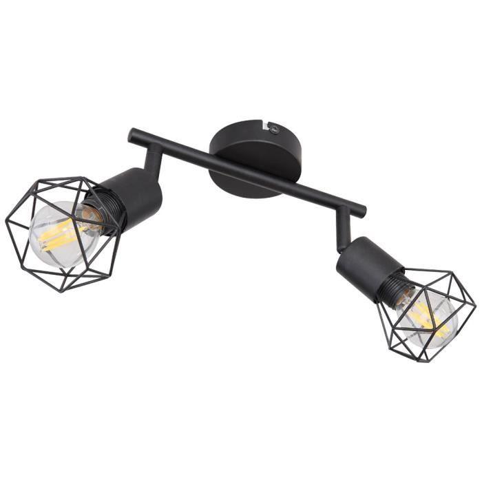 Plafonnier, design cage, spots réglables, noir, L 22 cm, XARA I