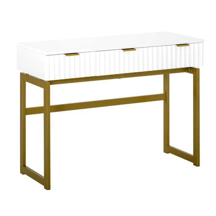 Console table d'appoint style Art déco dim. 100L x 40l x 76H cm 3 tiroirs façades texturées métal doré MDF blanc 100x40x76cm Blanc