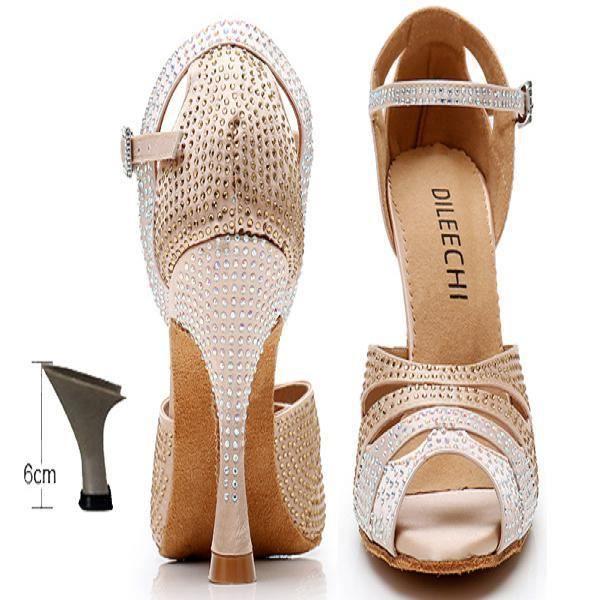 Chaussures de danse,DILEECHI-chaussures de danse latine pour femmes, chaussures laser à strass, bouche de poisson, Satin Salsa, so