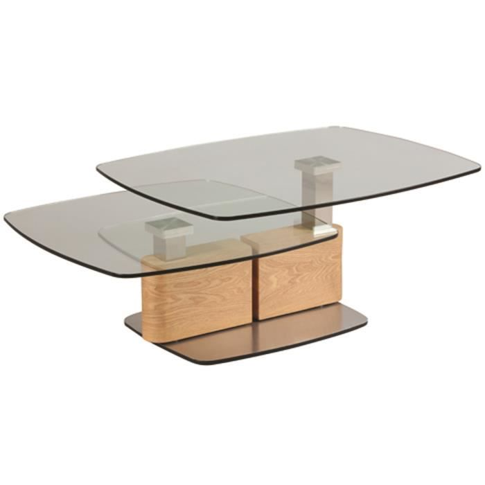 Table basse relevable en verre trempé et MDF - Dim : L 137 x P 70 x Ht 41 cm