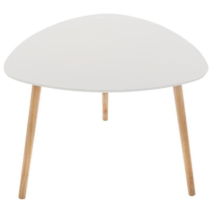 Table à café taupe en MDF et chêne - Dim : L. 60 x l. 60 x H. 45 cm