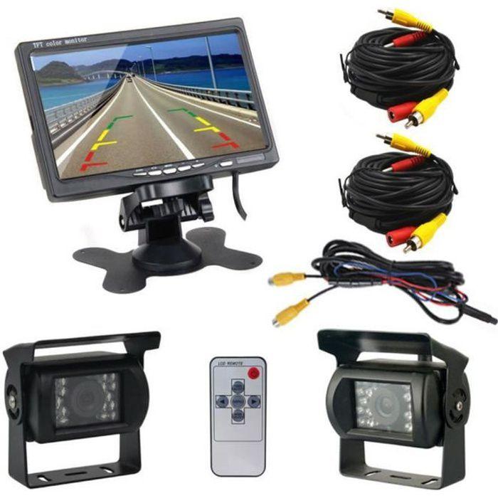 Podofo 7 -LCD double caméra de recul arrière moniteur de voiture Kit pour camion bus RV 18 IR LED vision nocturne caméra de recul Re