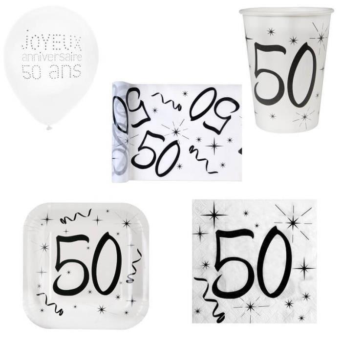 1 Pack fête anniversaire 50 ans de 10 personnes blanc et noir. Matière carton, papier et tissu…