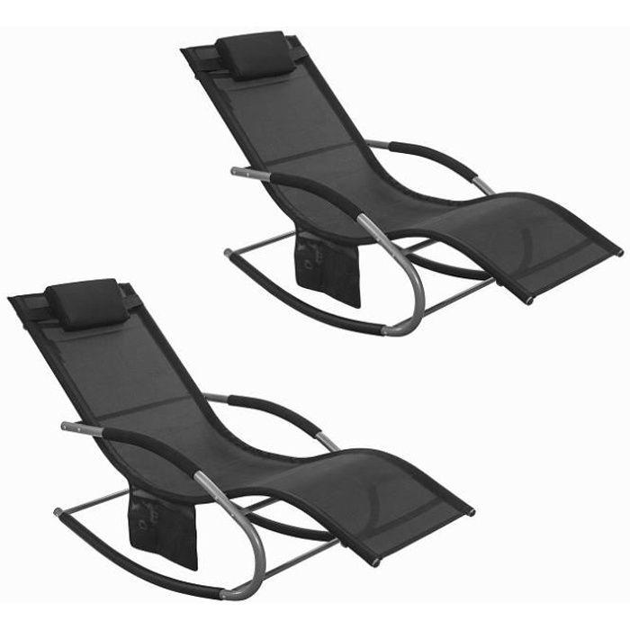 SoBuy® OGS28-Sch x2 Lot de 2 Fauteuils à bascule Chaise longue Transats de jardin avec repose-pieds et 1 pochette latérale - Noir