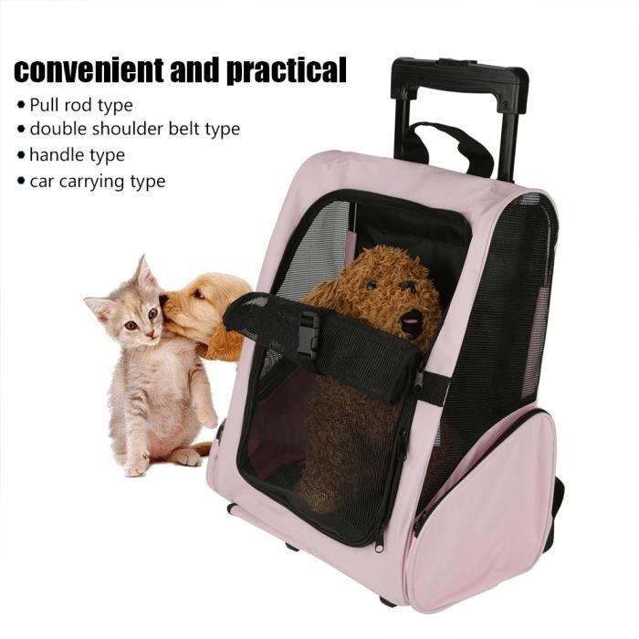 Sac de transport portable pour animaux de compagnie Sac à dos à roulettes Sac à dos pour chien de chat transportant H0243