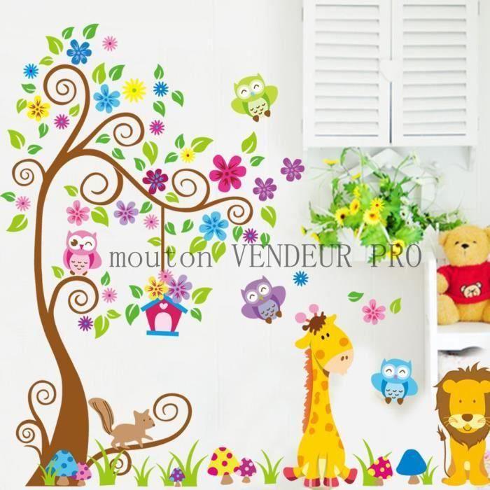 STICKERS Stickers muraux Enfant arbre colore et animaux hib
