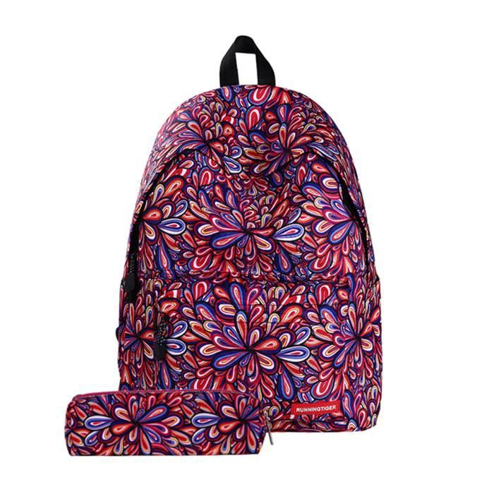 Sc67 Sac à dos cartable de fille multicolore rouge