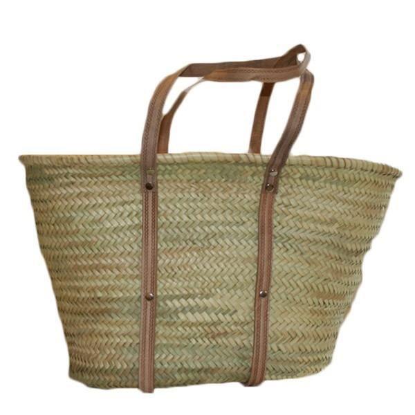 Bags & Purses Totes Sac en paille poign\u00e9es cuir,Panier osier ...