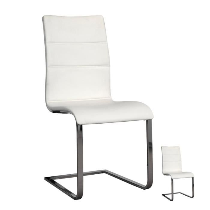 duo de chaises blanches carmen l 46 x l 53 x h 94 achat vente chaise cdiscount. Black Bedroom Furniture Sets. Home Design Ideas
