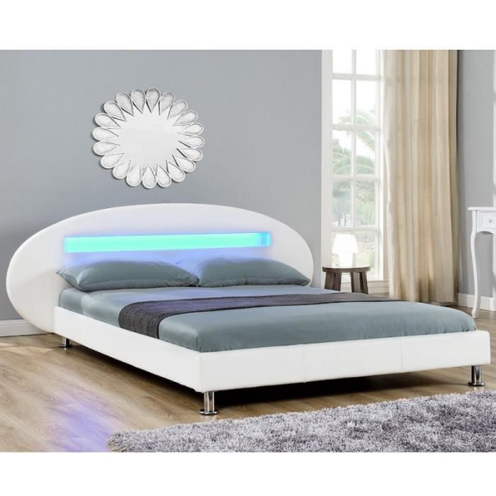 lit design blanc avec led 140 x 200 cm t te arrondie achat vente structure de lit cdiscount. Black Bedroom Furniture Sets. Home Design Ideas