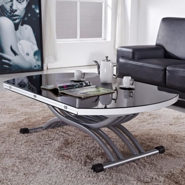 table basse relevable serena verre noir achat vente. Black Bedroom Furniture Sets. Home Design Ideas