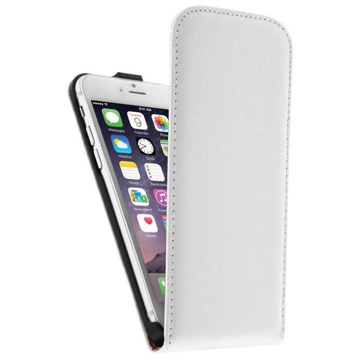Etui coque clapet blanc simili cuir iphone 6 6s 4 7 for Housse cuir iphone 6