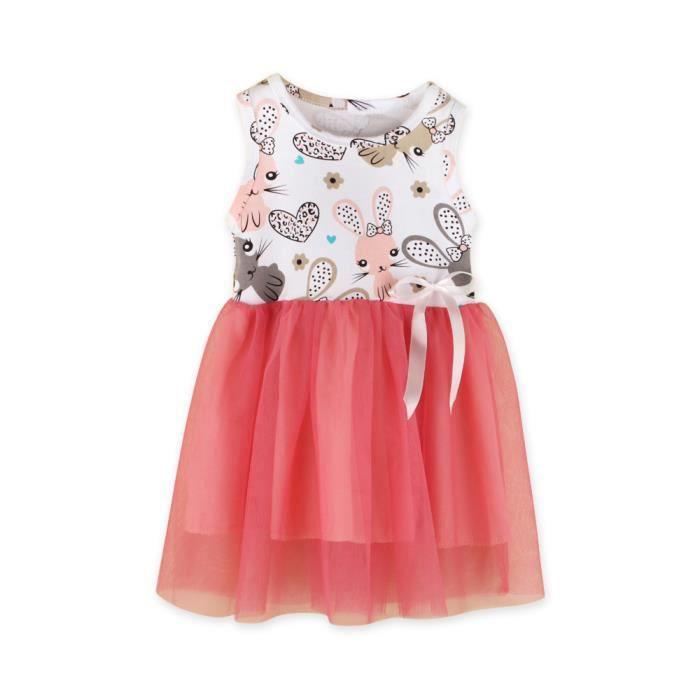 Bébé Fille Toddler infantile mignon fleur à manches courtes robe robe de coton 17 couleurs