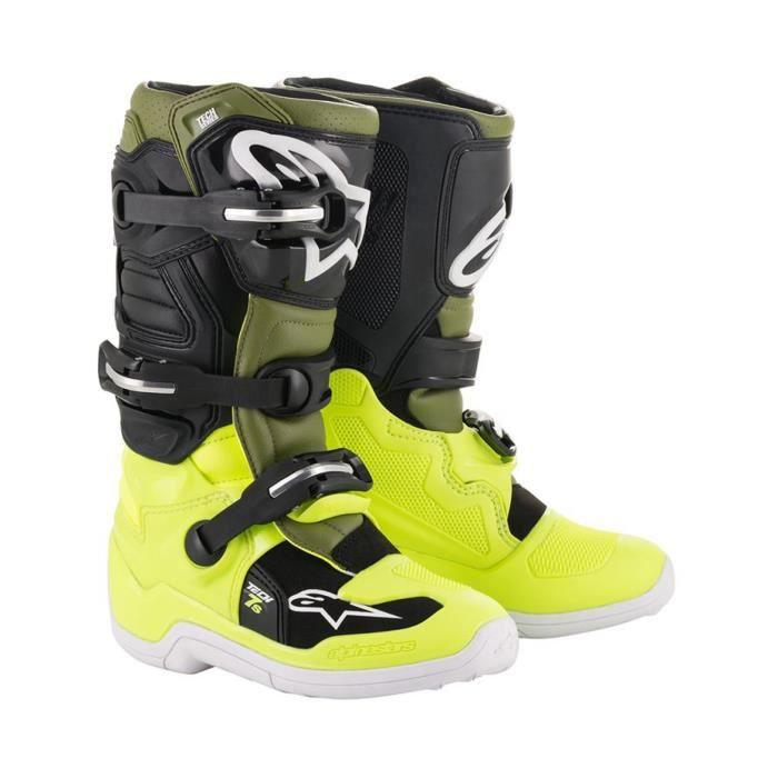 Motocross Noir Bottes Jaune Vert 7S Alpinestars Tech Enfant 53AjL4R