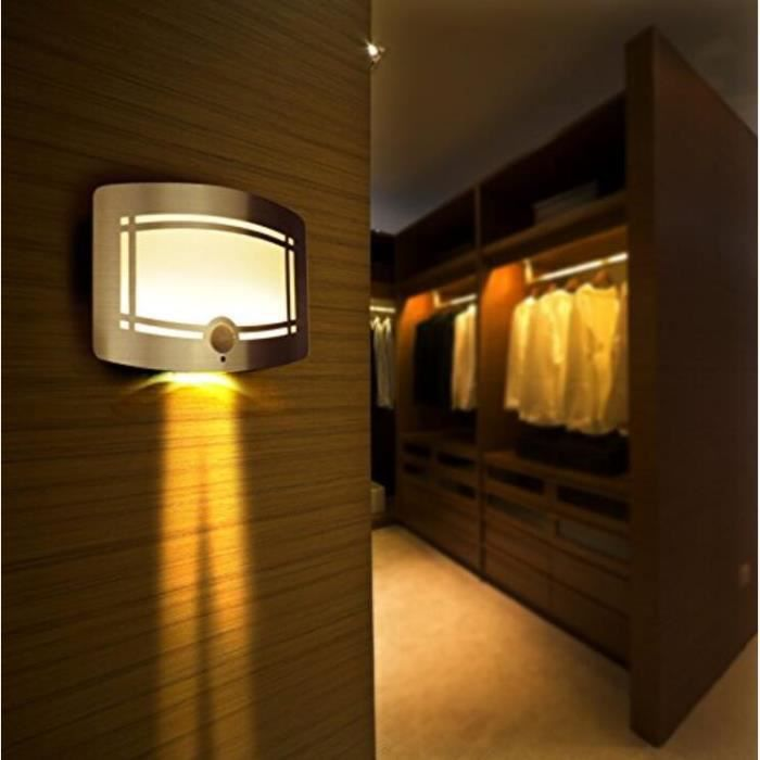 intelligente lampe de nuit murale veilleuse sans fil led d tecteur de mouvement aliment par 4. Black Bedroom Furniture Sets. Home Design Ideas