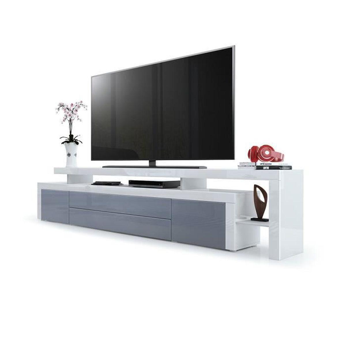 Meuble Tv Blanc Gris Laque 227 Cm Achat Vente Meuble
