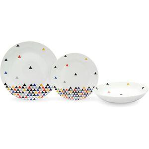 SERVICE COMPLET Service de Table 18 pièces en porcelaine Triangles