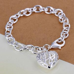 BRACELET - GOURMETTE Bracelet Coeur pendentif en argent Ovale de femmes