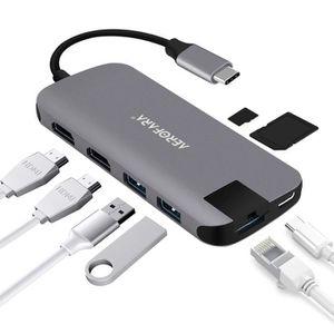 ADAPTATEUR CARTE SD Hub USB C Adaptateur USB C HDMI 4K,USB 3.0 * 2, Gi