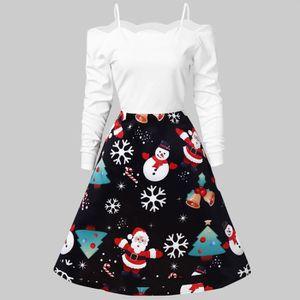 ROBE Robe de Noël Femmes Encolure Vintage flocon de nei