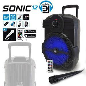 ENCEINTE NOMADE Enceinte sur batterie nomade MyDj SONIC12 à LED -