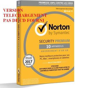 ANTIVIRUS À TELECHARGER Norton Security 2018 Premium 10APP 1AN (Edition Fa