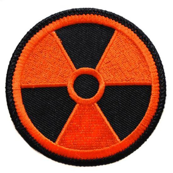 Ecusson brod/é thermocollant patch nucleaire radioactif radioactivit/é nuclear 7,5cm biker