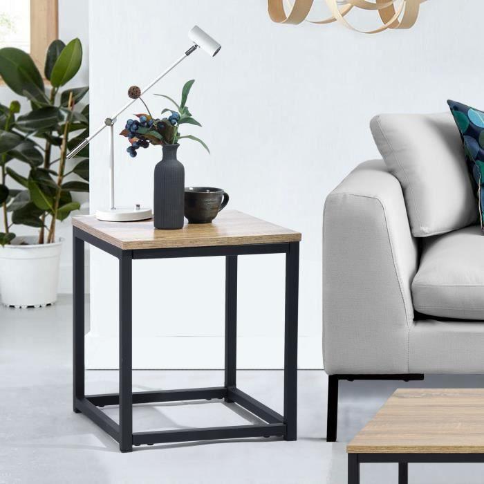 MEUBLES COSY Table basse d'appoint - Bout de canapé - Structure en métal et d'un dessus en fibre de bois - Style Industriel