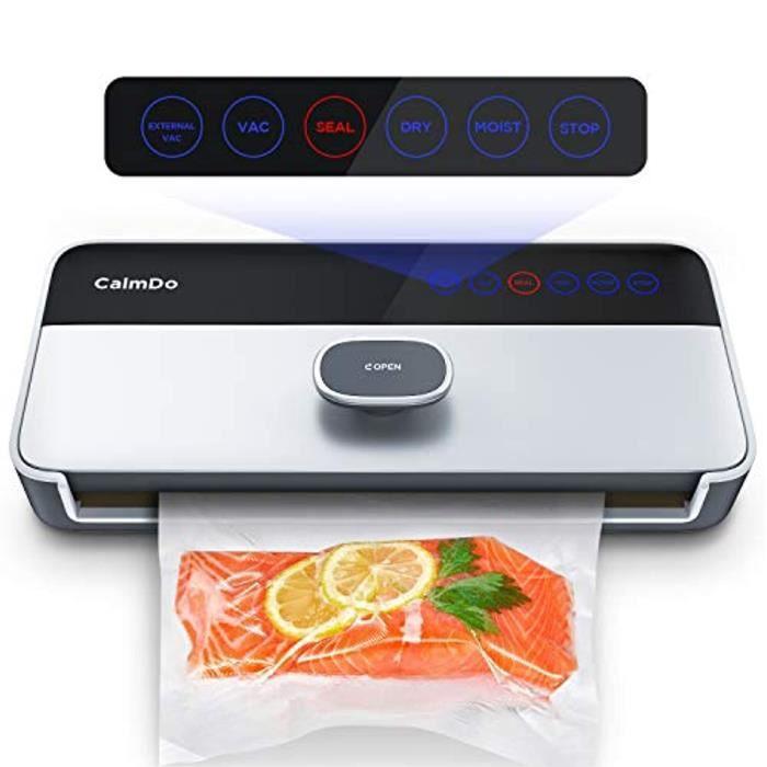 Machine Sous Vide Automatique, CalmDo 6 en 1 Appareil de Mise Sous Vide Alimentaire Professionnel avec Écran Tactile LED et 1 Roulea
