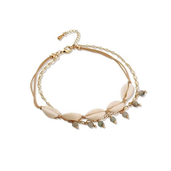 Chaine De Cheville RUCTM coquille cheville multicouche charme perles turquoise mer à la main boho délicat pied bijoux pour et adoles